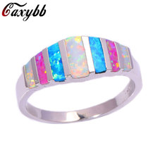 Caxybb Latest styles Pink Blue White Fire Opal 925 Stamp HOT SELL Jewelry Retail Wholesale ring For Women's Wedding Ring  R-S144