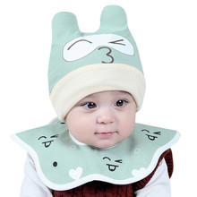 2017 New 2pcs Toddler Kids Baby Cap Scarf Set Child Summer Cotton Baseball Cap Sun Visor Cap And Bips Sets photography props(China)