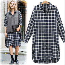 Women's Plaid Tops Spring Latest Fashion Design XL,2XL,3XL,4XL,5XL Long Sleeve Midi Length Tops Women Checked Tops Plus-size