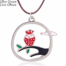 craft steel bird Owl on Tree Charms Rope Chain Oil painting red Necklace Jewelry girl lady 3586(China)