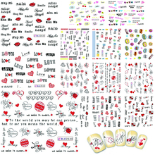 11 Designs in 1 set Nail Art Stickers Letters Designs Water Transfer Nail Wrap Manicure Decor Valentine Decals BEBLE2524-BLE2534(China)
