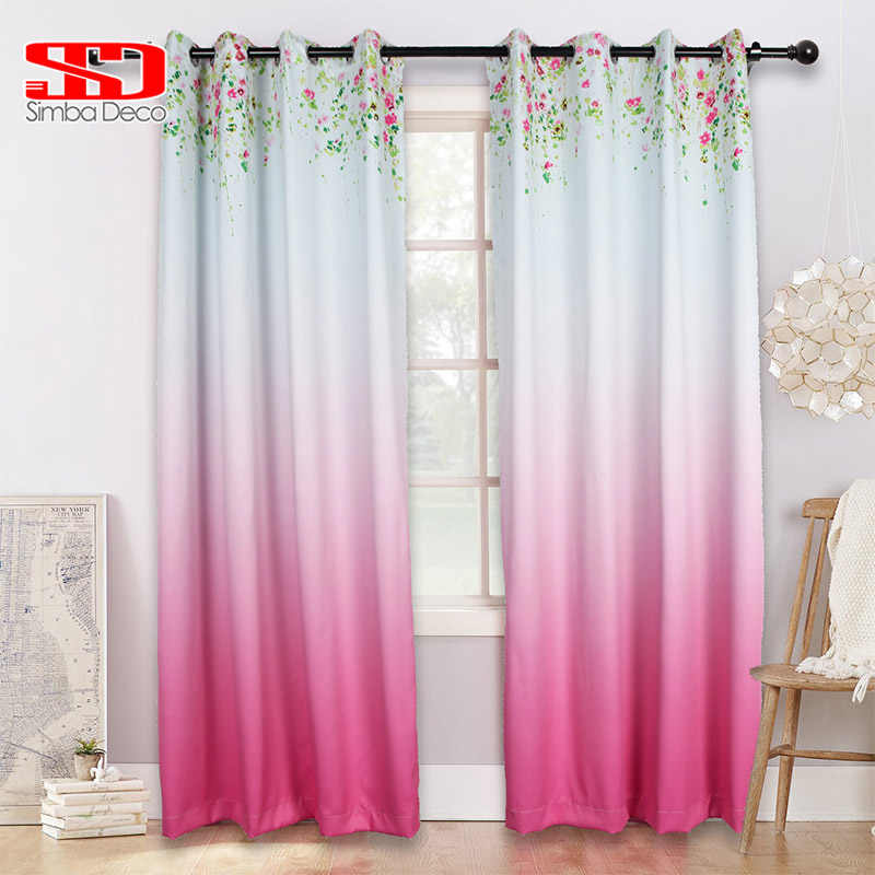Gradient Pink Blackout Curtains for Living Room Floral Hanging High Shading Drapes Original Design Decoration Window Treatments