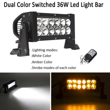 "7.5"" 36W Dual Colors Swtiched Strobo Led Work Light Bar Combo Beam White /Amber,Green,Blue,Red Offroad Warning ATV SUV Boat(China)"