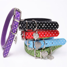 Free Shipping Pu Leather Pet Products Adjust Size Dot Dogs Collar&Leads Cute Fashion Dogs Necklace Pet Supplies Purple/Black/Red