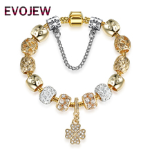 EVOJEW Original Authentic Luxury Gold-Color Lucky Clover Charm Bracelet for Women DIY Crystal Beads Bracelets Fashion Jewelry