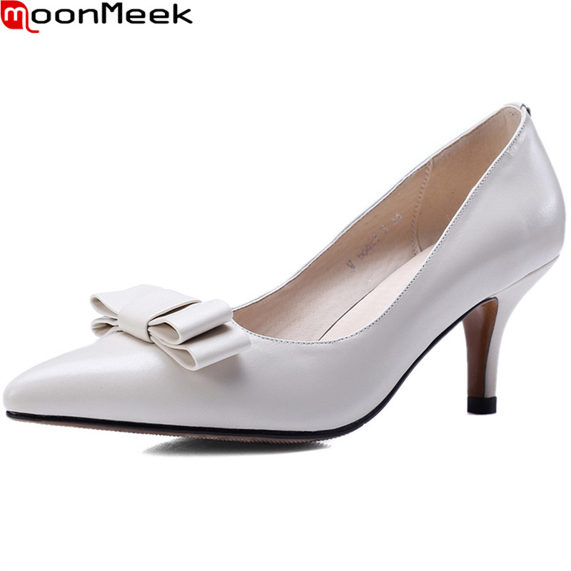 MoonMeek new hot female fashion pumps pointed toe thin heels slip on shallow with butterfly knot extreme high heels ladies shoes<br>