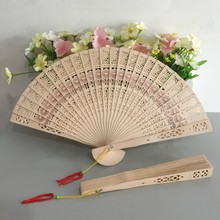 Free shipping 50pcs/lot Through-carved Chinese style sandalwood fan scented wood fan with sun flowers print