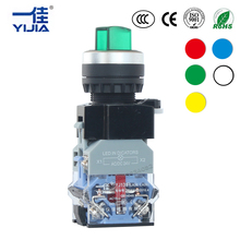 Maintained LED Selector Push Button Rotary Switch 2 position light self lock 1NONC Illuminated Silver contact 22mm LA38-11XD/21