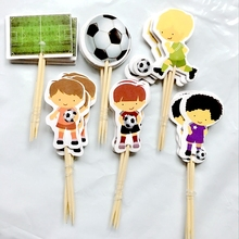 New 24pcs Cartoon Play Football Cake Hat Sport Boys Party Cupcake Toppers Picks Kids Birthday Family Party Decoration Supplies(China)