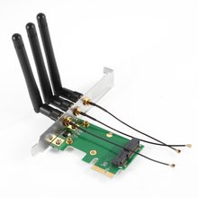 YOC-5* Sale Mini PCI-E Express to PCI-E Wireless Adapter w 3 Antenna WiFi for PC