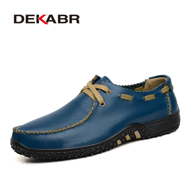 DEKABR Brand Men Shoes Fashion Style Loafer 2018 High Quality Genuine Leather Flat Soft Loafer For Male Shoe Plus Big Size 38-47<br>