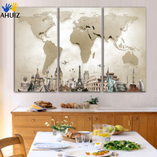 unframed 3 pieces large canvas painting Beige map cities of various countries image fashion decoration art wall poster FA63(China)