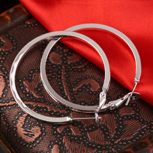 GENBOLI Stylish Nickle Silver Color Round Hoop Earrings Women Loop Celebrity Office Party Gift Classic Jewelry Small/Large