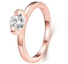 Forever Love Class Wedding Band Rings Rose Plated 6 Prong Round Sparkling AAA CZ Rings Jewelry