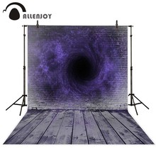 Allenjoy Halloween backdrop brick wall wooden floor secret purple magic vortex black hole photo backdrop background photography(China)
