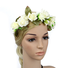 Boho Flower Crown Headband Floral Headpiece for Wedding Bridal Fairy Halo Circlet Hair Accessories Head Wreath Garland(China)