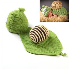 Cute Baby Hats Snail Knitted Clothes Set Newborn Baby Photography Props Infant Hat+Cloak Photo Shooting Baby Accessories