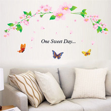 One Sweet Day Wall Stickers Flower rattan butterfly Removable Home Decor Creative Room Vinyl Wall Decal Mural 90X60 CM(China)