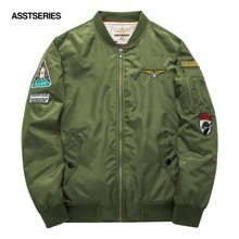Men Bomber Flight Pilot Jacket Coat Thin Navy Flying Jacket Military Air Force Embroidery Baseball Uniform Army Green Black 6XL(China)
