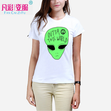Alien printed women T-shirt green ET individual design girl's Tshirts Women's summer clothes T shirts manufacturer to custom