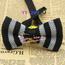 Cheap Hot 2014 New Mens Polyester Adjustable Black And Gray Striped Formal Knitted Neck Bowtie Men's Bow Tie,male Butterfly