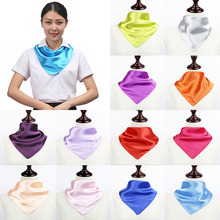 Fashion 60x60cm Small Plain Neckerchief Head Neck Headband Multipurpose Women Artificial Silk Square Scarf