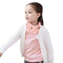 New 2017 Autumn Child Kids Baby Girl Long Sleeve Blouse Tops Floral Lace Collar T Shirts