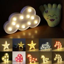 6 Styles Decorative Letters Light Star/Cloud/Moon/Heart/Unicorn Shape DIY Warm White LED Night Lamp Home Christmas Party Decor