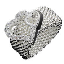 drop shipping Wholesale silver plated Ring,2 hearts ring,Fashion Jewelry,Mesh web net finger Ring  8  size  RING-0296-WT