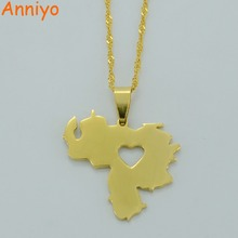 Anniyo Two Model of Venezuela Map Pendant Necklace for Women Gold Color Jewelry Venezuelan Items #005721(China)