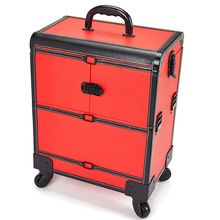 Large Size Aluminum Alloy Cosmetic Organizer Multi-layer Beauty & Makeup Storage Trolley Cosmetic Case Travel Toiletry Trunk