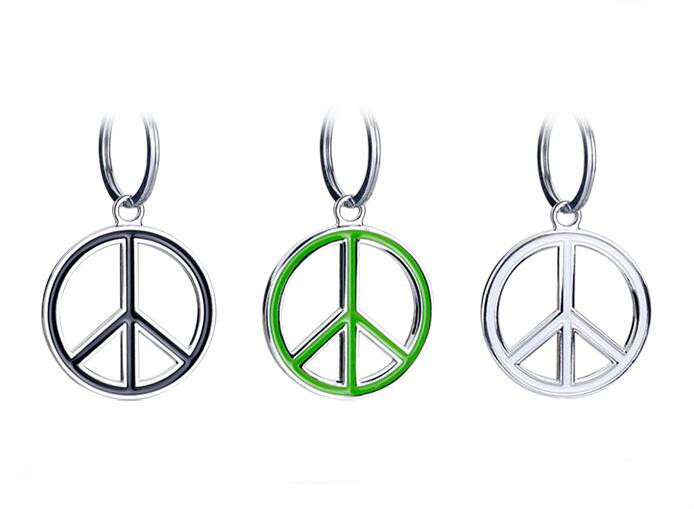 1pc No War Symbol Car Keychain Stickers Decorations Chrome Metal