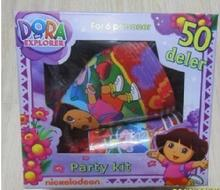 Free shipping,DORA birthday party decoration,1lot=2set=12kids,cup+plate+Blowingout+bag+hat+mask+tissue+table cloth+flag banner