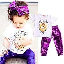 Newborn Baby Girl 2pcs Clothes Sets Cute T-shirt White Tops + Pants Purple Fashion Shiny Leggings Outfits Set 2pcs Clothing Girl