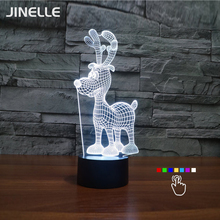 Dropship 7 Color Changing 3D Lamp Deer LED Lamp For Kids Magic Ball Mushroom Night Light Toy Night Light Christmas Gifts(China)