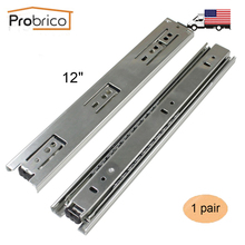 "Probrico 1 Pair 12"" Ball Bearing Slides Kitchen Furniture Drawer Rail DSHH30-12 Steel Full Extension Guides Glides Heavy Duty(China)"