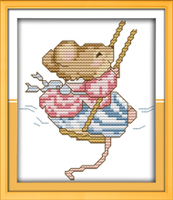 Swing mouse, counted printed on fabric DMC 14CT 11CT Cross Stitch kits,embroidery needlework Sets, Home Decor(China)