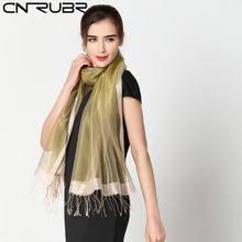 CNRUBR Natural Silk Scarves Women Fashion Solid Printed Pure Silk Scarf Shawl Large Size 200cm Sunscreen Shawls Style Wrap