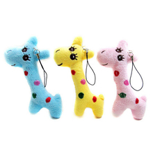 Wholesale 1PC Cartoon Animal Gift Baby Plush Doll Toy Mini Giraffe Key Chain For Kids Dolls Stuffed Toys Blue Yellow Pink Color