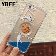YRFF Football Basketball cover for iPhone 6 case Glitter Stars Dynamic Liquid Quicksand Hard Case For iPhone 6s 6 plus Cover(China)