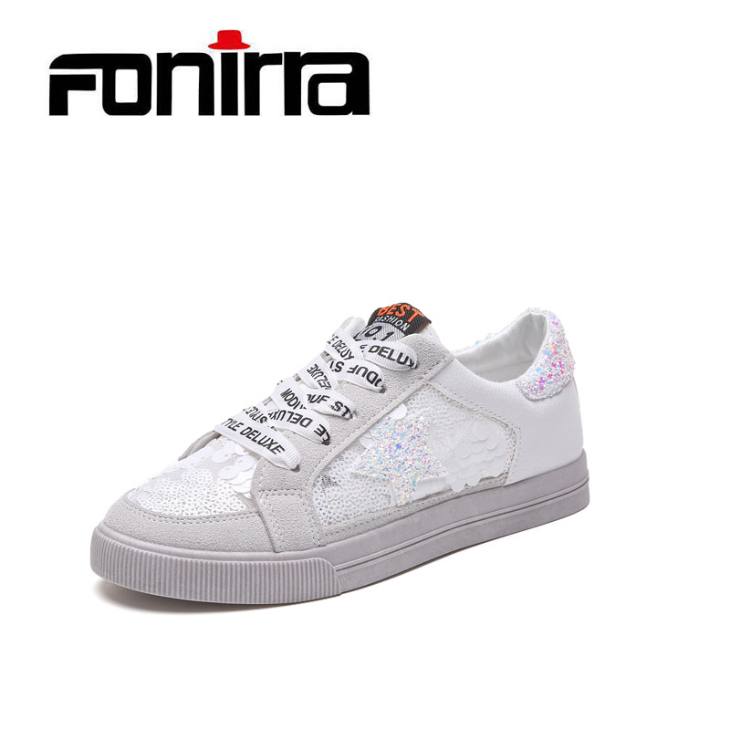 FONIRRA Spring Bling Cross Tied Casual Women Shoes White Flat Mixed Colors Girls Shoes Fashion School Sneaker Women Shoes 043<br>