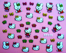 Mix Order: $0.7 XF312 Free Shipping Brand 3D Design Tip Nail Art Hello Kitty Nail Stickers Decals Carving Nail Art Decorations