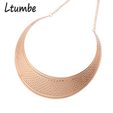 Ltumbe New Ethnic Big Moon Torques Maxi Necklaces Bohemian Gold Color Gypsy Pattern Choker Necklaces Tibetan Jewelry For Women