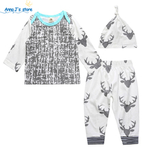 TZ-371 3 pcs.! Newborn Baby Children Girl flower Sliders + Floral Trousers Stripe Pants Outfit Set of Clothes(China)