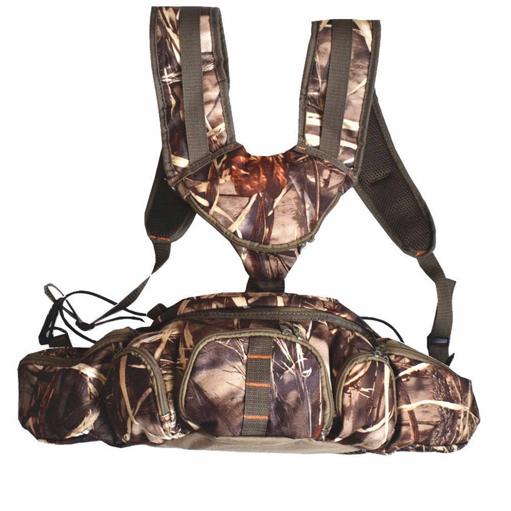 Camouflage Hunting Backpack Nylon Suede Waterproof  Waist Bags Double Shoulder Pack for Hiking Camping Fishing Outdoor Bike<br>