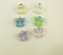 Ship Free! 100pcs butterfly crystal vial pendants Glass&Crystal Vials perfume bottle Clearance(China)