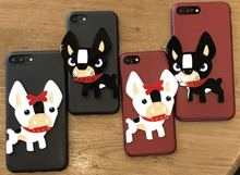 4 colors Cute Dog Case for iphone 6 6s 7 7plus 6plus TPU Bulldog 3D protective shell Acrylic fight pattern skin Pet back cover