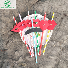 6types mix Beard lips stickers paper straws colorful creative wedding banquet photocall funny ideas(China)