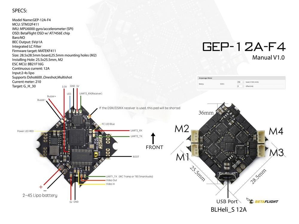 GEPRC GEP-12A-F4 V1.1 F411 F4 Flight Controller AIO OSD BEC /& 12A BL/_S 2-4S 4In1