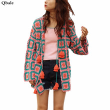 Qbale Autumn women knitted cardigans Japan style Vintage Belt Plaid Pure Hand Knitted Long femme sweater outwear Limited Edition(China)